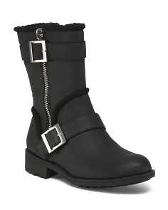 Double Buckle Side Zip Moto Booties
