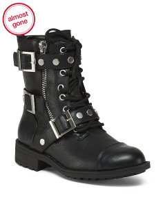 Triple Buckle Lace Up Moto Booties
