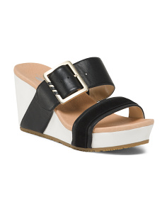 Comfort Double Band Leather Wedges