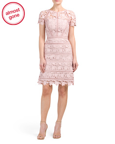 Coral Orchid Lace Shift Dress