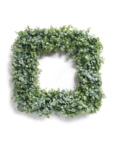 24in Faux Eucalyptus Square Wreath