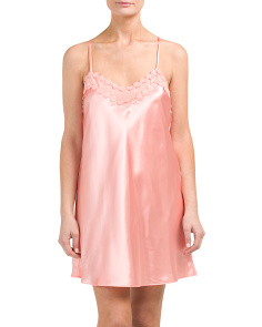 Charmeuse Chemise With Lace Trim