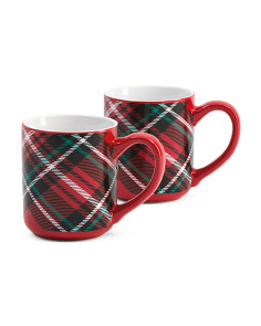 2pk Christmas Plaid Mugs
