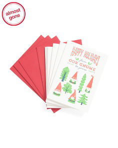 Set Of 6 Gnome Holiday Cards
