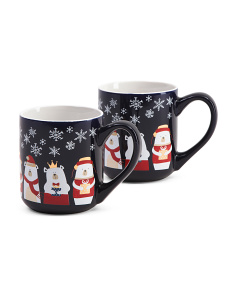 2pk Christmas Polar Bear Mugs