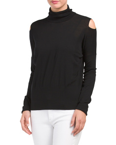 Wool Blend Cold Shoulder Sweater