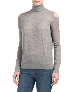 Cold Shoulder Wool Blend Turtleneck