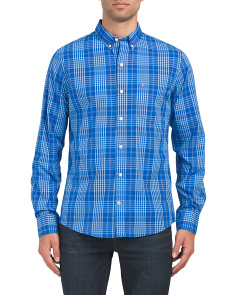 Slim Large Plaid Stretch Shirt