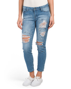 Juniors Pearl Destructed Ankle Jeans