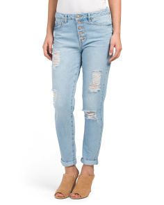 Juniors High Waist Destructed Jeans