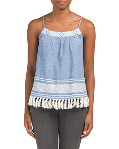 Agneza Tassel Trim Chambray Top