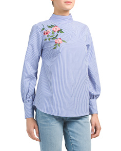 Juniors Floral Embroidered Top