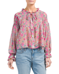 Juniors Smocked Printed Top