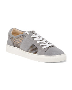 Perforated Lace Up Suede Sneakers