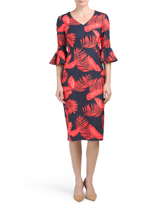Leaf Print Bell Sleeve Dress
