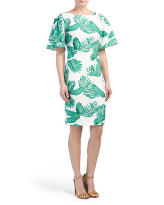 Leaf Print Flutter Sleeve Dress