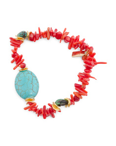 Handmade In USA Red Coral And Turquoise Stretch Bracelet