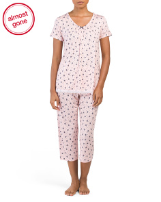 Short Sleeve Top And Capri Pajama Set