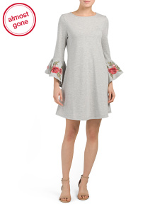 Embroidered Bell Sleeve Knit Dress