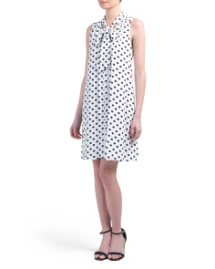 Tie Neck Dot Dress