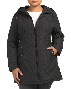 Plus Hooded Quilted Jacket