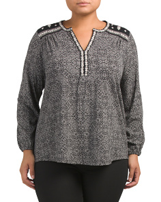 Plus Mixed Peasant Top
