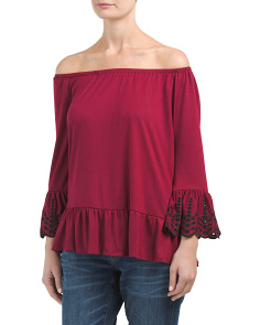 Embroidered Eyelet Sleeve Top