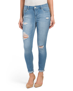 Destructed Roll Cuff Ankle Jeans