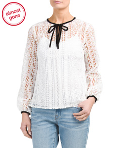 Long Sleeve Lace Tie Neck Top
