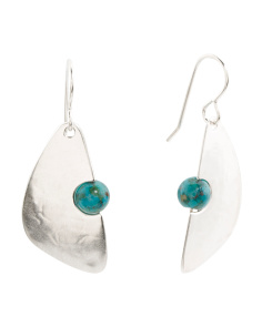 Handmade In USA Turquoise Abstract Earrings