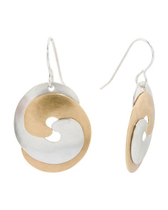 Handmade In USA Two Tone Swirl Earrings
