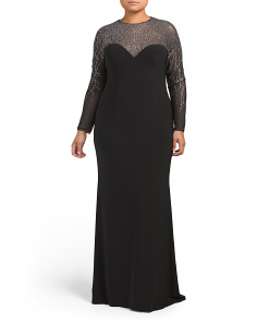 Plus Gown With Crystal Lace Sleeves
