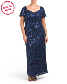 Plus Embroidered Sequin Lace Gown
