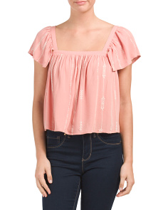 Juniors Embroidered Flutter Sleeve Top