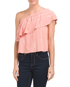 Juniors Embroidered One Shoulder Top