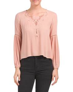 Juniors Embroidered Woven Top