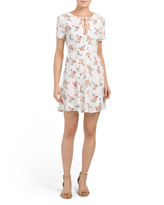 Juniors Printed Short Sleeve Dress