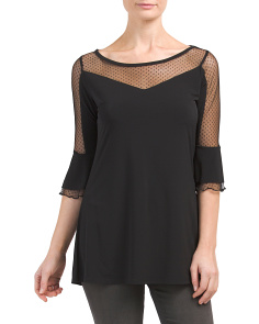 Sheer Mesh Detail Top