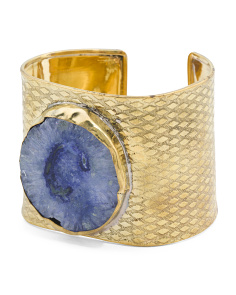 Handcrafted In India Blue Agate Lagoon Cuff Bracelet