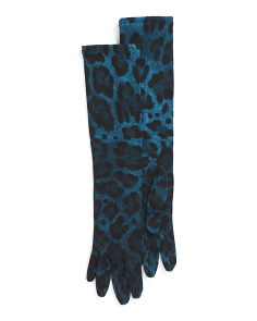 Made In Italy Virgin Wool Long Leopard Print Gloves