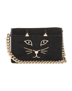 Made In Italy Feline Suede Clutch
