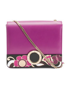 Made In Italy Leather Fiore Clutch