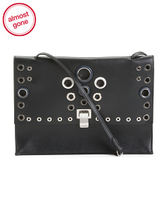 Made In Italy Leather Crossbody With Grommets
