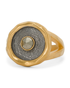 Handmade In Thailand Pyrite Gunmetal And Gold Sun Ring