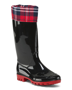 Cozy Lined Plaid Collar Rain Boots