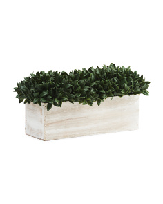 15in Faux Bayleaf Wood Ledge Planter