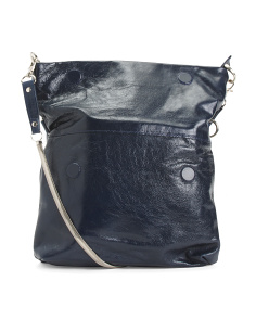 Fold Over Leather Crossbody
