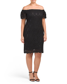 Plus Made In USA Lace Off The Shoulder Dress