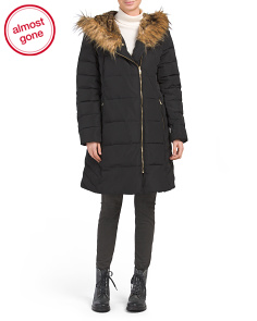 Quilted Down Coat With Faux Fur Hood