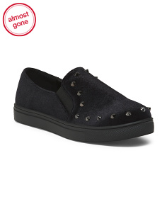 Studded Slip On Velvet Sneakers
